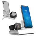 3-in-1 Aluminum Alloy Docking Station - iPhone, Apple Watch, AirPods - Sølv