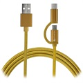 4smarts ComboCord Fabric MicroUSB & Type-C Kabel - 1m - Guld