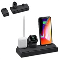 5-i-1 Silikone Opladningsstativ - iPhone, AirPods, Apple Watch - Sort