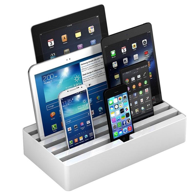 all dock 6 port universel opladerstation large hvid. Black Bedroom Furniture Sets. Home Design Ideas