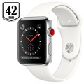Apple Watch Series 3 LTE MQLY2ZD/A - Rustfrit Stål, Sportsrem, 42mm, 16GB - Sølv/Hvid