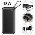 Baseus 20000mAh USB-C PD QC3.0 Powerbank - 18W - Sort