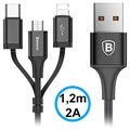 Baseus 3-i-1 USB Kabel - Lightning, Type-C, MicroUSB - Sort