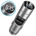 Baseus Energy Column QC3.0 Billader / Bluetooth FM Transmitter - Sølv