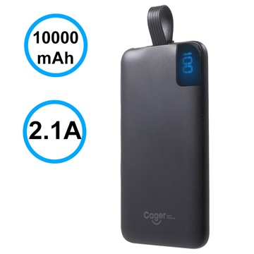 Cager S10000 Transportabel Type-C Power Bank - 10000mAh - Sort