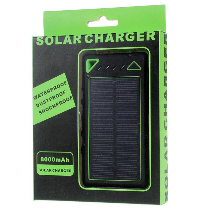 Dobbelt USB Vandafvisende Solcelle Oplader / Power Bank - Grøn