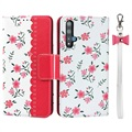 Floral Pattern Honor 20 Etui med Pung - Hot Pink
