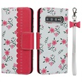Floral Pattern Samsung Galaxy S10 Etui med Pung - Hot Pink