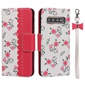 Floral Pattern Samsung Galaxy S10+ Etui med Pung - Hot Pink