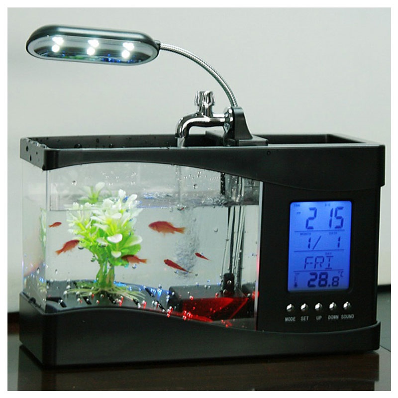 Mini Akvarium Med Lcd Ur Amp Led Lampe