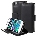 iPhone 5/5S/SE Premium Flip Cover med Pung og Stativ - Sort