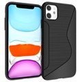 S-Line iPhone 11 TPU Cover - Karbonfiber - Sort