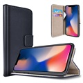 iPhone X Saii Flip Cover med Kortholder - Sort