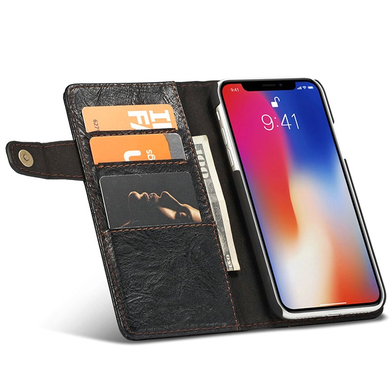 Saii Retro Multi-slot iPhone X Cover med Kortholder