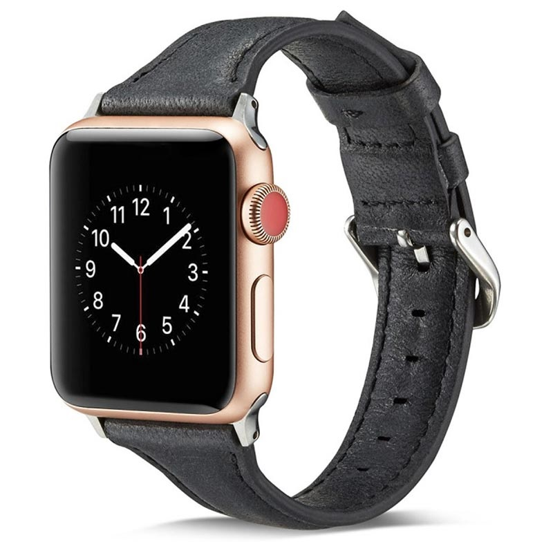 Apple Watch Series 5/4/3/2/1 Slim Læder Rem - 40mm, 38mm