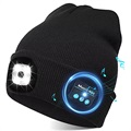 Unisex Strikket Bluetooth Beanie Hue med LED-Lys - Sort