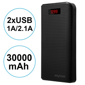 iMyMax Carbon MM-PB/006 2xUSB Powerbank - 30000mAh - Sort