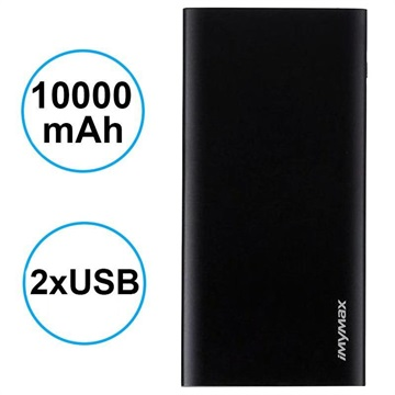 iMyMax X10 Slim Powerbank - 10000mAh - 2 x USB - Sort
