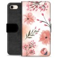 iPhone 7 / iPhone 8 Premium Flip Cover med Pung - Lyserøde Blomster