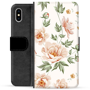 iPhone X / iPhone XS Premium Flip Cover med Pung - Floral