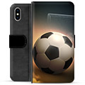 iPhone X / iPhone XS Premium Flip Cover med Pung - Fodbold