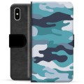 iPhone X / iPhone XS Premium Flip Cover med Pung - Blå Camouflage
