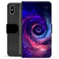 iPhone X / iPhone XS Premium Flip Cover med Pung - Galakse