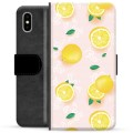 iPhone X / iPhone XS Premium Flip Cover med Pung - Citron Mønster