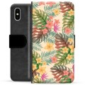 iPhone X / iPhone XS Premium Flip Cover med Pung - Lyserøde Blomster