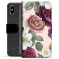 iPhone X / iPhone XS Premium Flip Cover med Pung - Romantiske Blomster