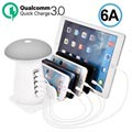 2-i-1 Qualcomm QC 3.0 Ladestation & Champignon LED Lampe UD08