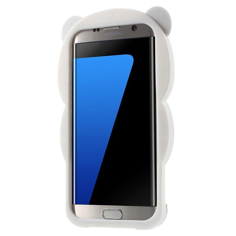 Ultramoderne Samsung Galaxy S7 Edge 3D Panda Silikone Cover - Sort / Hvid XA-62
