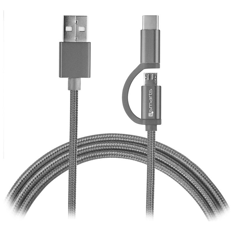 4smarts ComboCord Fabric MicroUSB & Type-C Kabel - 1m - Grå