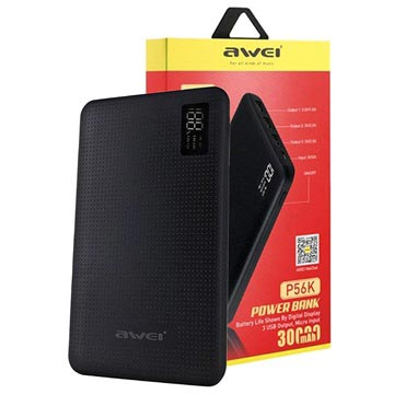 Awei Slim Power Bank P56K m/LED Skærm - 30000mAh