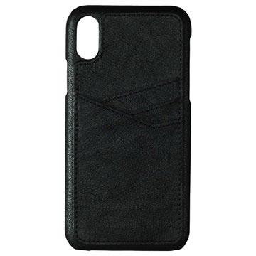 Essentials Triple Card iPhone X / iPhone XS Læder Cover - Sort
