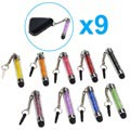Glitter Mini Kapacitiv Stylus Pen med 3.5mm-stik - 9 Stk.