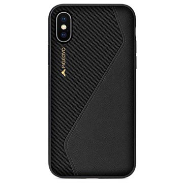 Meleovo Racing Series iPhone X / iPhone XS Hybrid Cover - Sort