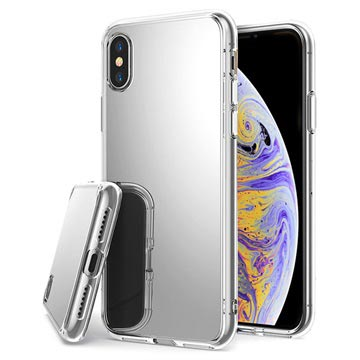 iPhone X / iPhone XS Cover med spejl - Sølv