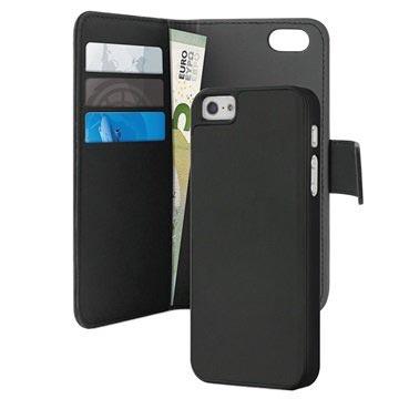 c78ed6e5aa7 iPhone 5 / 5S / SE Puro Magnetisk Pung Taske - Sort