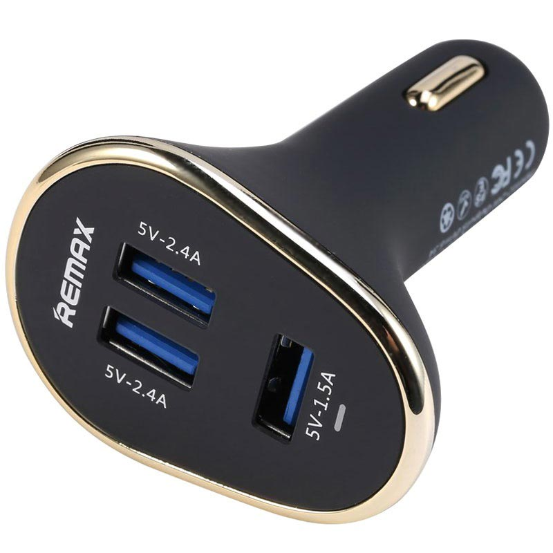 Remax Smart Triple USB Port Biloplader - Sort