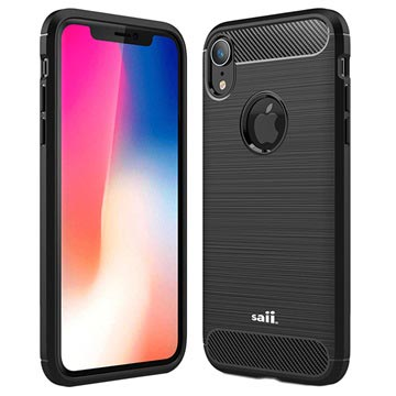 Saii Børstet iPhone XR TPU Cover - Karbonfiber - Sort