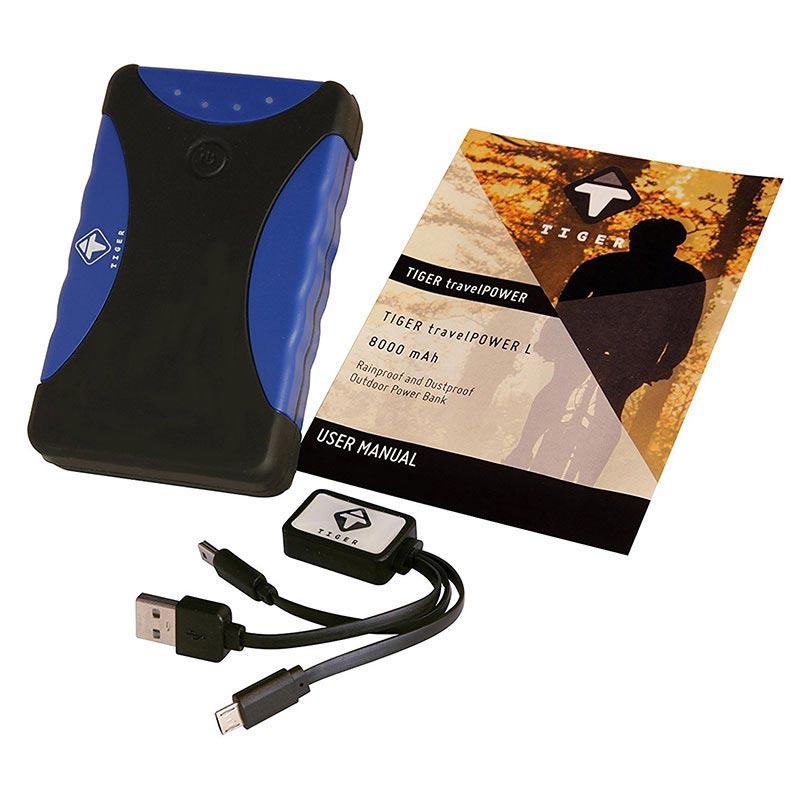 Tiger travelPOWER L Dobbelt USB Powerbank 8000mAh Sort Blå
