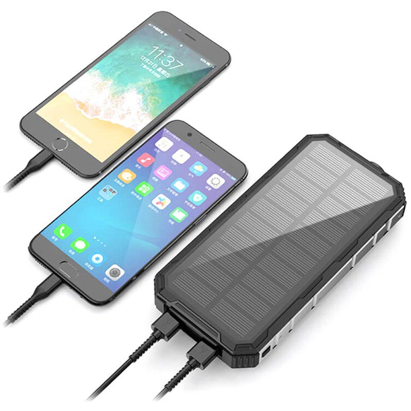 Vandafvisende Solcelle Oplader / Power Bank - 20000mAh - Sort
